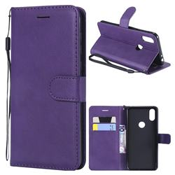Retro Greek Classic Smooth PU Leather Wallet Phone Case for Motorola One (P30 Play) - Purple