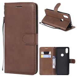 Retro Greek Classic Smooth PU Leather Wallet Phone Case for Motorola One (P30 Play) - Brown