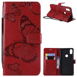 Embossing 3D Butterfly Leather Wallet Case for Motorola One (P30 Play) - Red