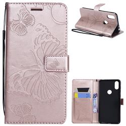 Embossing 3D Butterfly Leather Wallet Case for Motorola One (P30 Play) - Rose Gold