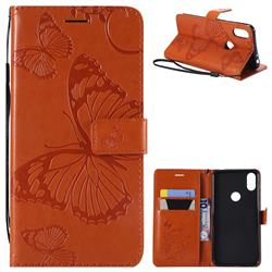 Embossing 3D Butterfly Leather Wallet Case for Motorola One (P30 Play) - Orange