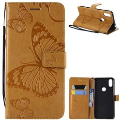 Embossing 3D Butterfly Leather Wallet Case for Motorola One (P30 Play) - Yellow