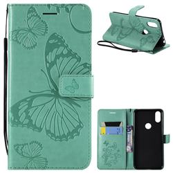 Embossing 3D Butterfly Leather Wallet Case for Motorola One (P30 Play) - Green