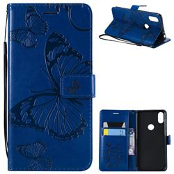 Embossing 3D Butterfly Leather Wallet Case for Motorola One (P30 Play) - Blue