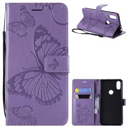 Embossing 3D Butterfly Leather Wallet Case for Motorola One (P30 Play) - Purple