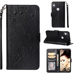 Embossing Fireworks Elephant Leather Wallet Case for Motorola One (P30 Play) - Black