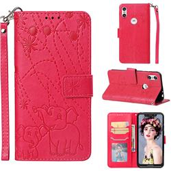 Embossing Fireworks Elephant Leather Wallet Case for Motorola One (P30 Play) - Red