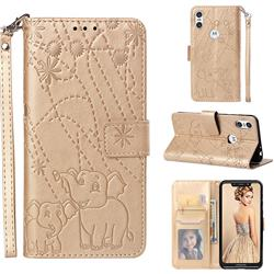 Embossing Fireworks Elephant Leather Wallet Case for Motorola One (P30 Play) - Golden