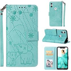 Embossing Fireworks Elephant Leather Wallet Case for Motorola One (P30 Play) - Green