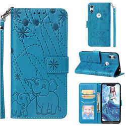 Embossing Fireworks Elephant Leather Wallet Case for Motorola One (P30 Play) - Blue