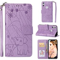 Embossing Fireworks Elephant Leather Wallet Case for Motorola One (P30 Play) - Purple