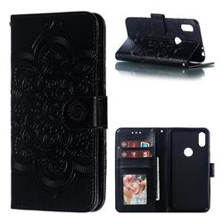 Intricate Embossing Datura Solar Leather Wallet Case for Motorola One (P30 Play) - Black