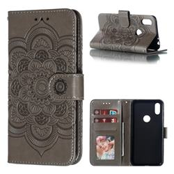 Intricate Embossing Datura Solar Leather Wallet Case for Motorola One (P30 Play) - Gray