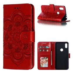 Intricate Embossing Datura Solar Leather Wallet Case for Motorola One (P30 Play) - Red