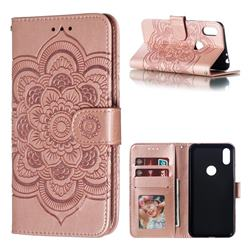 Intricate Embossing Datura Solar Leather Wallet Case for Motorola One (P30 Play) - Rose Gold