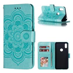 Intricate Embossing Datura Solar Leather Wallet Case for Motorola One (P30 Play) - Green