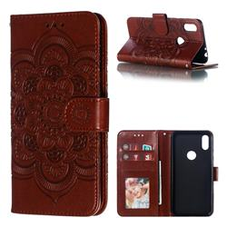Intricate Embossing Datura Solar Leather Wallet Case for Motorola One (P30 Play) - Brown