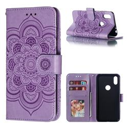 Intricate Embossing Datura Solar Leather Wallet Case for Motorola One (P30 Play) - Purple