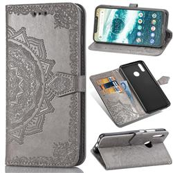 Embossing Imprint Mandala Flower Leather Wallet Case for Motorola One (P30 Play) - Gray