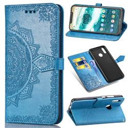 Embossing Imprint Mandala Flower Leather Wallet Case for Motorola One (P30 Play) - Blue