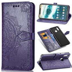 Embossing Imprint Mandala Flower Leather Wallet Case for Motorola One (P30 Play) - Purple