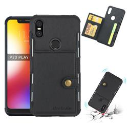Brush Multi-function Leather Phone Case for Motorola One (P30 Play) - Black