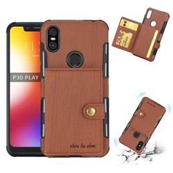 Brush Multi-function Leather Phone Case for Motorola One (P30 Play) - Brown