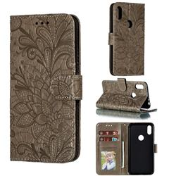 Intricate Embossing Lace Jasmine Flower Leather Wallet Case for Motorola One (P30 Play) - Gray