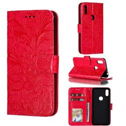 Intricate Embossing Lace Jasmine Flower Leather Wallet Case for Motorola One (P30 Play) - Red