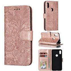 Intricate Embossing Lace Jasmine Flower Leather Wallet Case for Motorola One (P30 Play) - Rose Gold