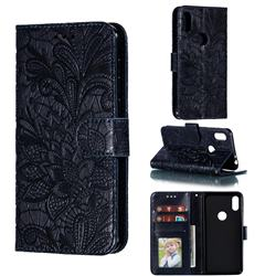 Intricate Embossing Lace Jasmine Flower Leather Wallet Case for Motorola One (P30 Play) - Dark Blue