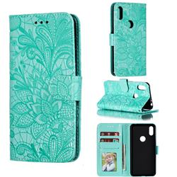 Intricate Embossing Lace Jasmine Flower Leather Wallet Case for Motorola One (P30 Play) - Green