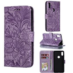 Intricate Embossing Lace Jasmine Flower Leather Wallet Case for Motorola One (P30 Play) - Purple