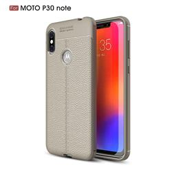 Luxury Auto Focus Litchi Texture Silicone TPU Back Cover for Motorola One Power (P30 Note) - Gray