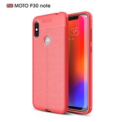 Luxury Auto Focus Litchi Texture Silicone TPU Back Cover for Motorola One Power (P30 Note) - Red