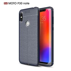 Luxury Auto Focus Litchi Texture Silicone TPU Back Cover for Motorola One Power (P30 Note) - Dark Blue