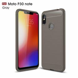 Luxury Carbon Fiber Brushed Wire Drawing Silicone TPU Back Cover for Motorola One Power (P30 Note) - Gray