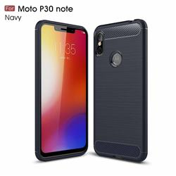Luxury Carbon Fiber Brushed Wire Drawing Silicone TPU Back Cover for Motorola One Power (P30 Note) - Navy