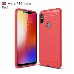 Luxury Carbon Fiber Brushed Wire Drawing Silicone TPU Back Cover for Motorola One Power (P30 Note) - Red