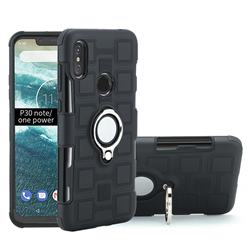 Ice Cube Shockproof PC + Silicon Invisible Ring Holder Phone Case for Motorola One Power (P30 Note) - Black