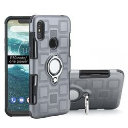 Ice Cube Shockproof PC + Silicon Invisible Ring Holder Phone Case for Motorola One Power (P30 Note) - Gray