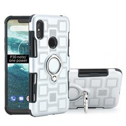 Ice Cube Shockproof PC + Silicon Invisible Ring Holder Phone Case for Motorola One Power (P30 Note) - Silver