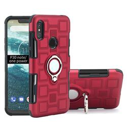 Ice Cube Shockproof PC + Silicon Invisible Ring Holder Phone Case for Motorola One Power (P30 Note) - Red