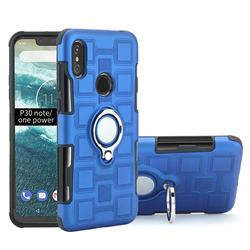 Ice Cube Shockproof PC + Silicon Invisible Ring Holder Phone Case for Motorola One Power (P30 Note) - Dark Blue