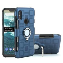 Ice Cube Shockproof PC + Silicon Invisible Ring Holder Phone Case for Motorola One Power (P30 Note) - Royal Blue