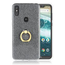 Luxury Soft TPU Glitter Back Ring Cover with 360 Rotate Finger Holder Buckle for Motorola One Power (P30 Note) - Black