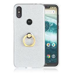 Luxury Soft TPU Glitter Back Ring Cover with 360 Rotate Finger Holder Buckle for Motorola One Power (P30 Note) - White
