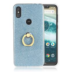 Luxury Soft TPU Glitter Back Ring Cover with 360 Rotate Finger Holder Buckle for Motorola One Power (P30 Note) - Blue