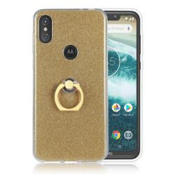 Luxury Soft TPU Glitter Back Ring Cover with 360 Rotate Finger Holder Buckle for Motorola One Power (P30 Note) - Golden