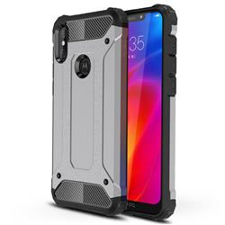 King Kong Armor Premium Shockproof Dual Layer Rugged Hard Cover for Motorola One Power (P30 Note) - Silver Grey